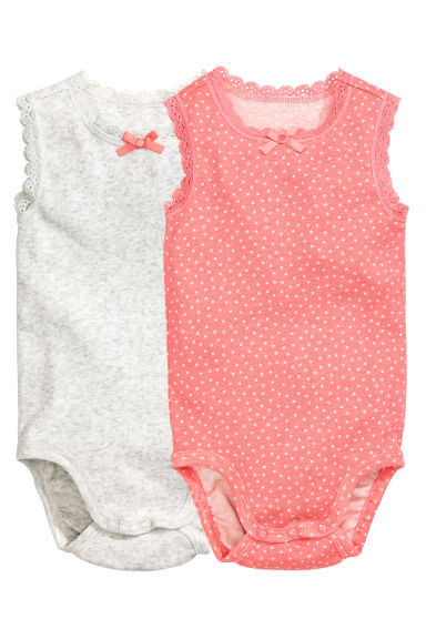 2-pack sleeveless bodysuits - Coral pink/Spotted -  | H&M