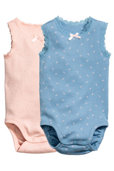 2-pack sleeveless bodysuits - Blue/Patterned -  | H&M 1