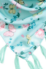 Patterned triangular scarf - Mint green/Butterflies - Kids | H&M CN 2