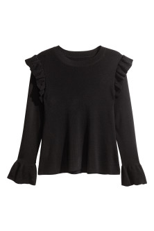 H&M+ Ribbed frilled jumper
