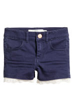 Twill shorts with lace - Dark blue -  | H&M CN 2