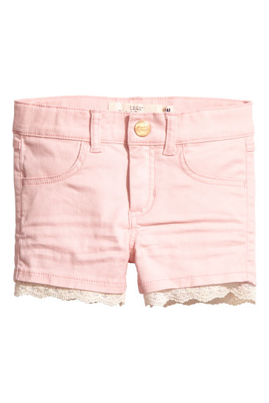 Twill shorts with lace - Light pink - Kids | H&M 1