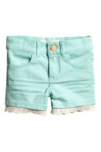 Twill shorts with lace - Mint -  | H&M CA 2