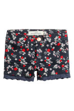 Twill shorts with lace - Dark blue/Strawberries - Kids | H&M 2