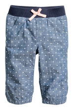 3/4-length pull-on trousers - Denim blue/Hearts - Kids | H&M CN 2