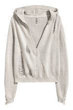 Trashed hooded cardigan - Light grey - Ladies | H&M 2