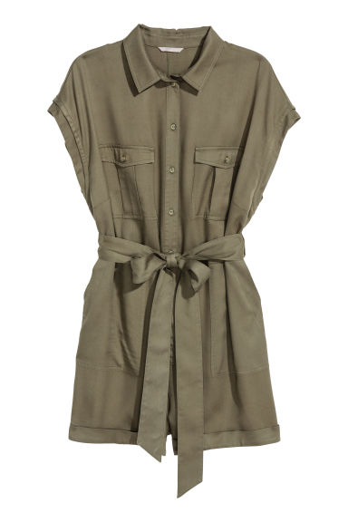 H&M+ 萊賽爾連身褲裝 - Khaki green - Ladies | H&M