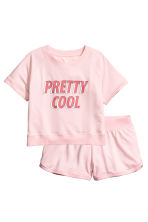 Lounge set with top and shorts - Light pink - Ladies | H&M GB 2