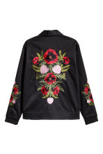 Embroidered shirt jacket - Black/Floral - Men | H&M CN 3