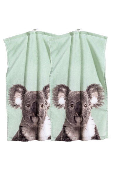 Lot de 2 essuie-mains - Vert menthe/koala - Home All | H&M FR