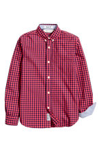 Cotton shirt - Coral red/Checked - Kids | H&M 3