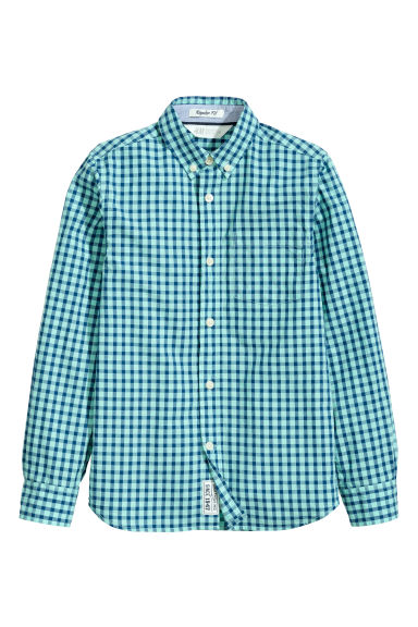 Cotton shirt - Mint green/Checked - Kids | H&M CN 1