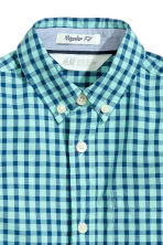 Cotton shirt - Mint green/Checked - Kids | H&M CN 3