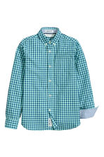 Cotton shirt - Mint green/Checked - Kids | H&M CN 2