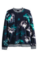 Velour sweatshirt - Black/Wolves - Men | H&M 2