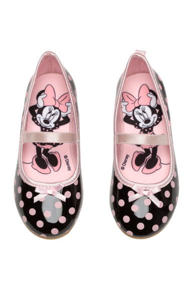 Spotted ballerina shoes - Black/Minnie Mouse - Kids | H&M