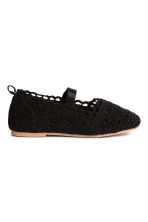 Lace-patterned ballet pumps - Black -  | H&M 2