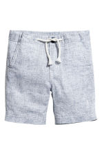 Linen-blend shorts - Dark blue/White -  | H&M CN 2