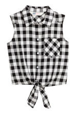 Tie-front blouse - Black/White/Checked - Kids | H&M 2