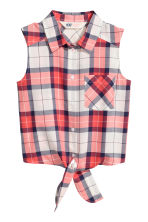 Tie-front blouse - Coral red/Checked -  | H&M 2