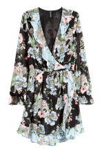 Abito incrociato - Nero/fiori - DONNA | H&M IT 3