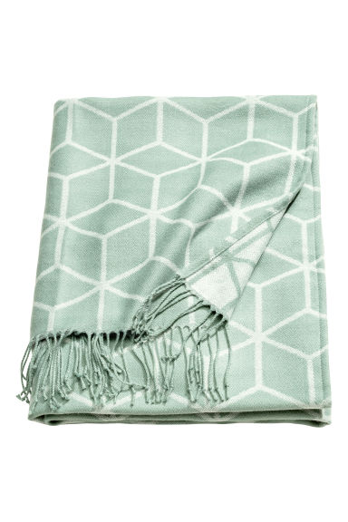 Jacquard-weave blanket - Dusky green - Home All | H&M CN 1