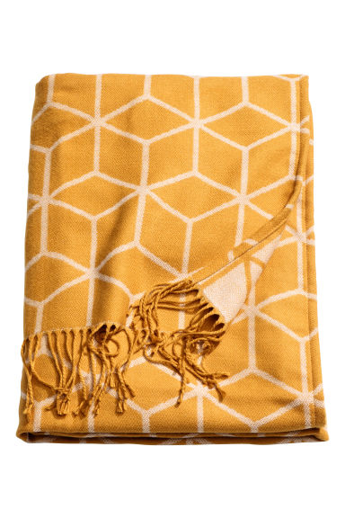Jacquard-weave blanket - Mustard yellow - Home All | H&M CN 1