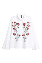 Shirt with flared sleeves - White/Embroidered - Ladies | H&M GB 2