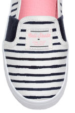 Slip-on trainers - White/Dark blue/Striped -  | H&M 3