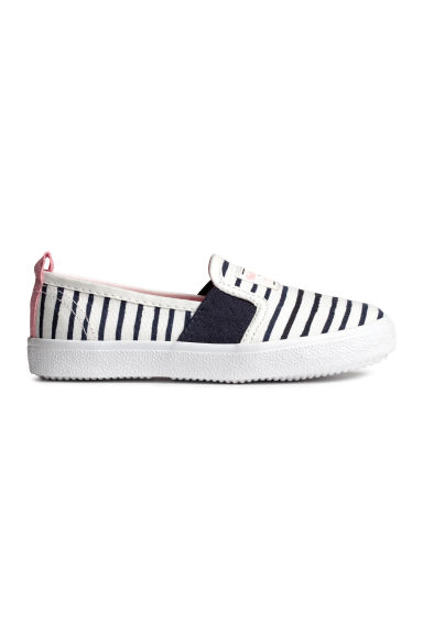 Slip-on sneakers - Wit/donkerblauw gestreept -  | H&M BE