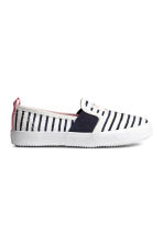 Slip-on trainers - White/Dark blue/Striped - Kids | H&M 1