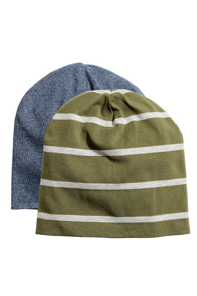2-pack jersey hats - Khaki green/Striped - Kids | H&M 1