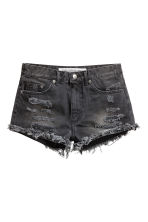 Denim shorts Skinny Regular - Black washed out - Ladies | H&M 3