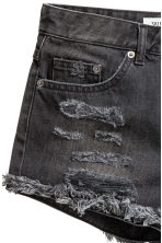 Denim shorts Skinny Regular - Black washed out - Ladies | H&M 5