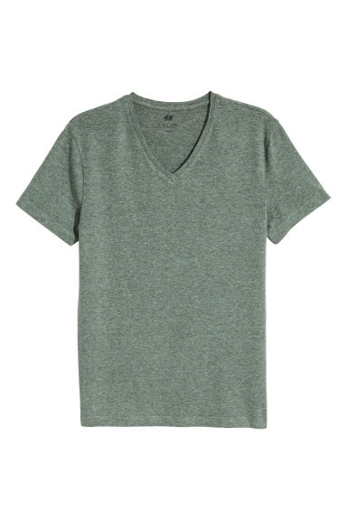 T-shirt scollo a V Slim fit - Verde mélange -  | H&M IT 1