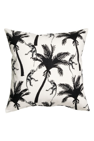 Slub-weave cushion cover - White/Palms - Home All | H&M CN 1