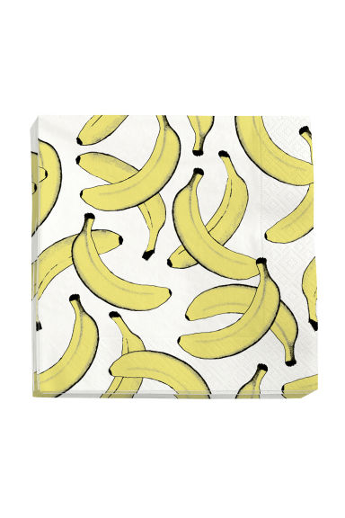 Paper napkins - White/Bananas - Home All | H&M CN 1