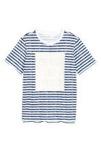Patterned T-shirt - White/Dark blue/Striped - Kids | H&M 2