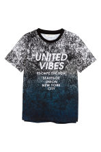 Patterned T-shirt - Black/Dark blue -  | H&M CN 2
