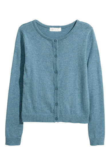 Fine-knit cardigan - Blue marl - Kids | H&M