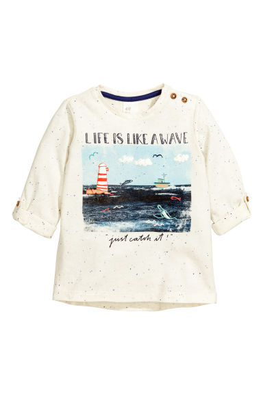 Long-sleeved T-shirt - Natural white - Kids | H&M CN 1