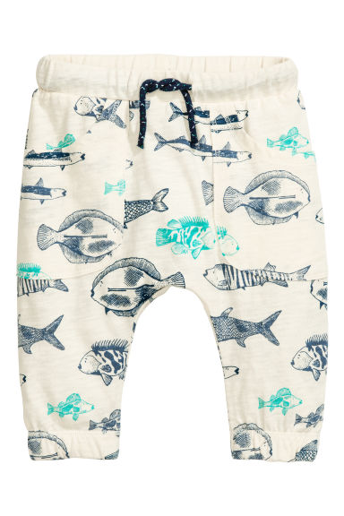 Slub jersey trousers - Natural white/Fish - Kids | H&M 1