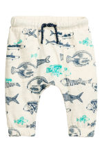 Slub jersey trousers - Natural white/Fish - Kids | H&M CN 1