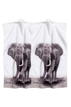 2-pack guest towels - White/elephant - Home All | H&M CN 2