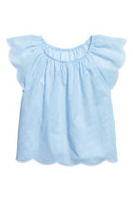 Blouse with butterfly sleeves - Light blue/White striped - Kids | H&M 2