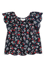 Blouse with butterfly sleeves - Dark blue/Strawberries -  | H&M CA 2
