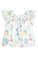 Blouse with butterfly sleeves - White/Floral - Kids | H&M CN 2
