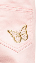 Embroidered twill trousers - Light pink - Kids | H&M 4