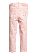 Embroidered twill trousers - Light pink - Kids | H&M 3
