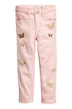 Embroidered twill trousers - Light pink -  | H&M 2